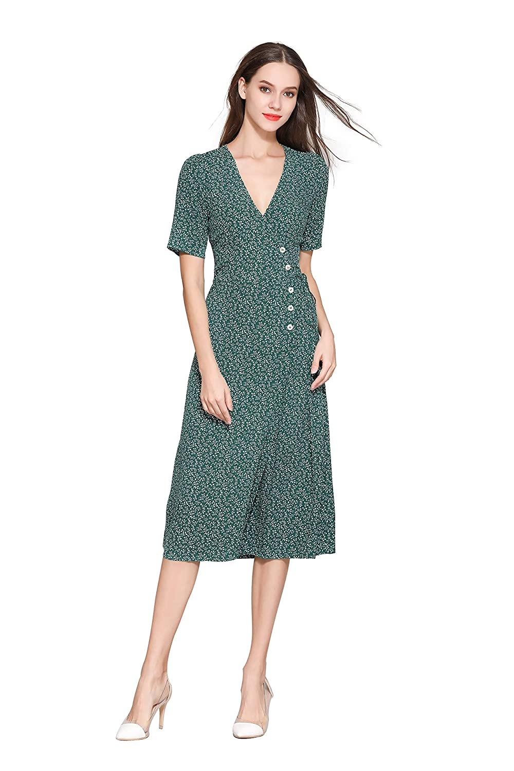 Swing Dance Clothing You Can Dance In Little Smily Womens Vintage Small Floral V Neck Midi Wrap Dress Short Sleeve $39.90 AT vintagedancer.com