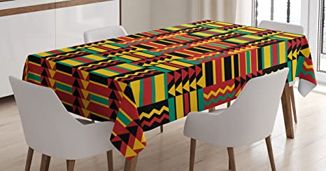Ambesonne Kente Pattern Tablecloth Ethnic With Stripes Triangles And Zigzags Uganda Zimbabwe Nigeria