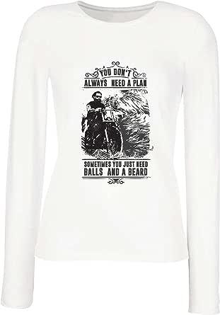 lepni.me Camisetas de Manga Larga para Mujer Usted no Siempre Necesita un Plan - Motocicleta, Amor para Viajar, Gran Regalo para el Motorista