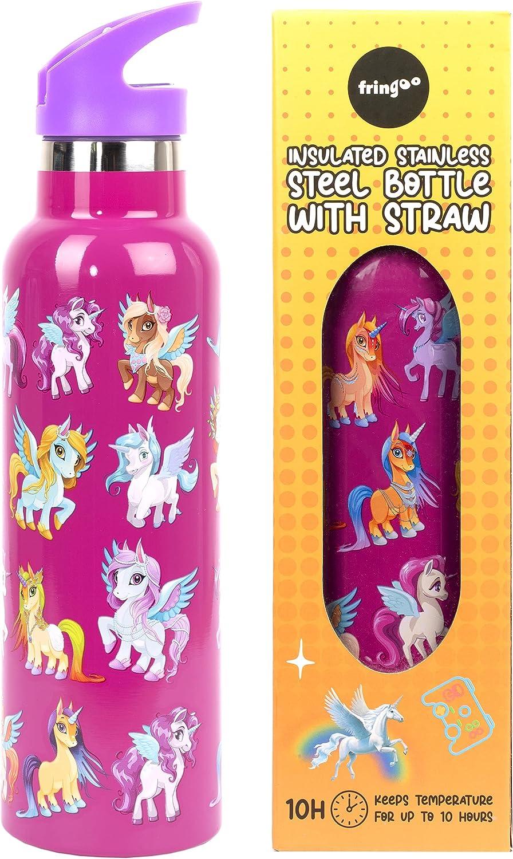 Fringoo - Botella de Agua con Pajita Unicornio Mágico - Botellas de Agua Grandes Libres de BPA - Botella de Agua de Acero Inoxidable - Botellas de Agua para Niñas - 600 ml