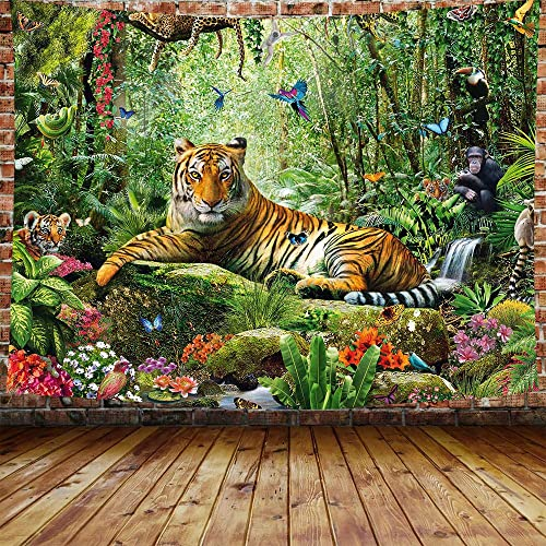 DBLLF King of The Forest Tiger Tapestry Forest Animal Wall Hanging Tropical Rainforest Landscape,Queen Size 80 x60 Flannel Art Tapestries,for Living Room Dorm Bedroom Home DBLS800