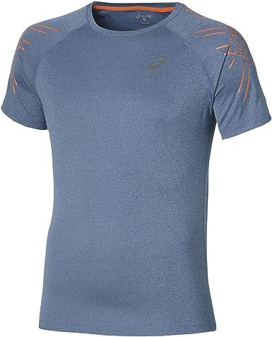 Hombre Azul ASICS SS Top Camiseta S Hombre Deportes y aire libre