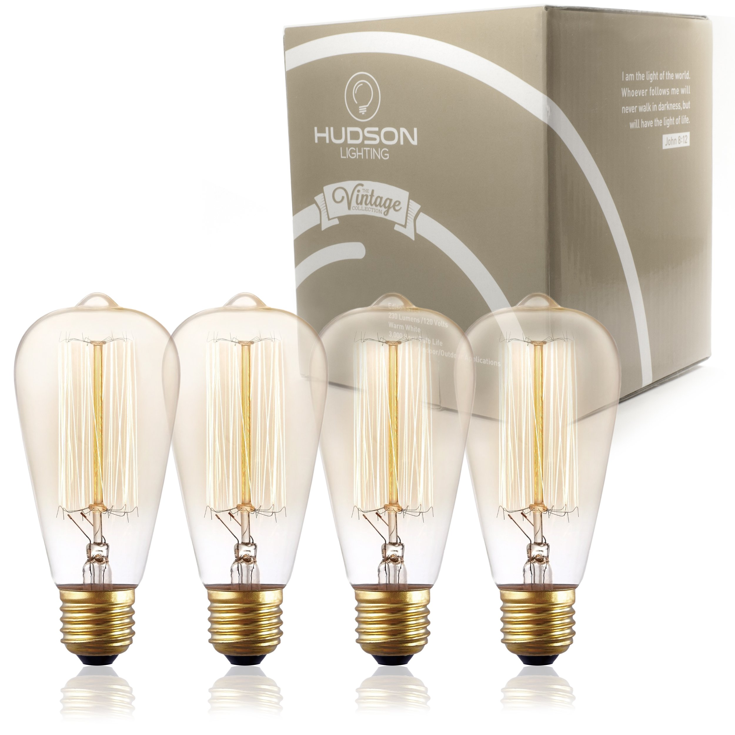 Antique Vintage Edison Bulb ST64 - Hudson Lighting 60 watt Vintage Light Bulb - ST64 - Squirrel Cage Filament - 230 Lumens - Dimmable - E26 Bulb Base – Edison Light Bulbs