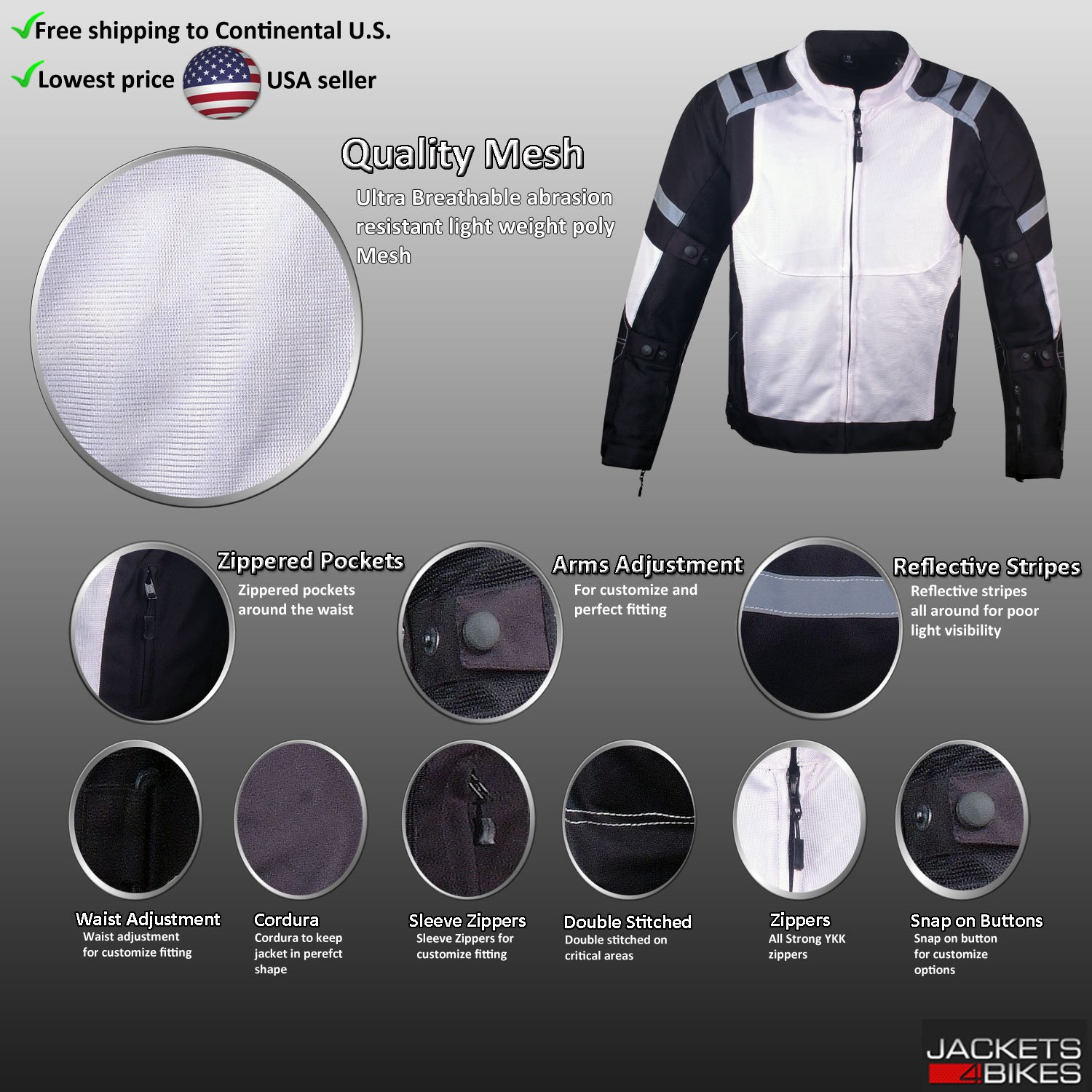 Mens Storm Mesh Armored Reflective Waterproof White Motorcycle Jacket S