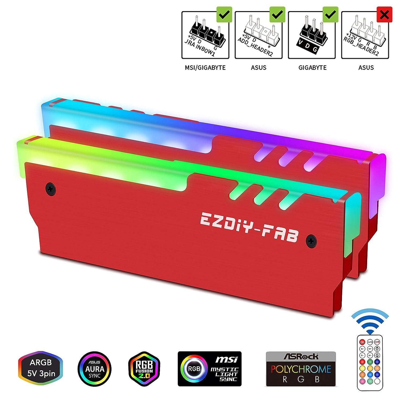 EasyDiy Direccionable RGB DDR Memoria RAM Disipate con Controlador para PC Juego Overclocking Mod DDR3 DDR4-Red-2pack