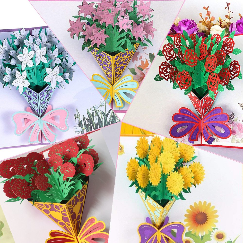 Handmade 3d Flower Pop Up Cards Xwyl Greeting Card For Anniversary