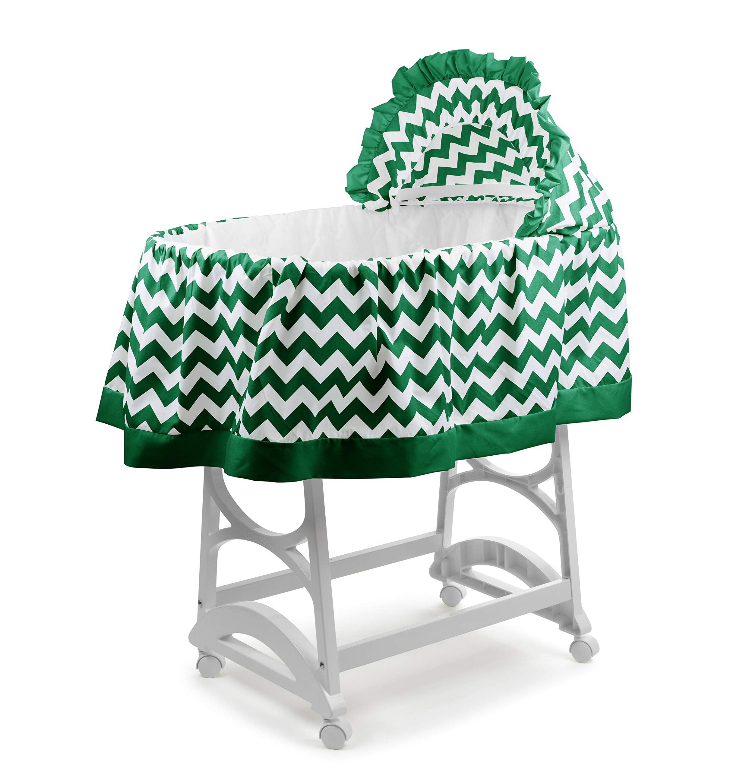 aBaby Chevron Short Bassinet Skirt, Green, Large by Ababy