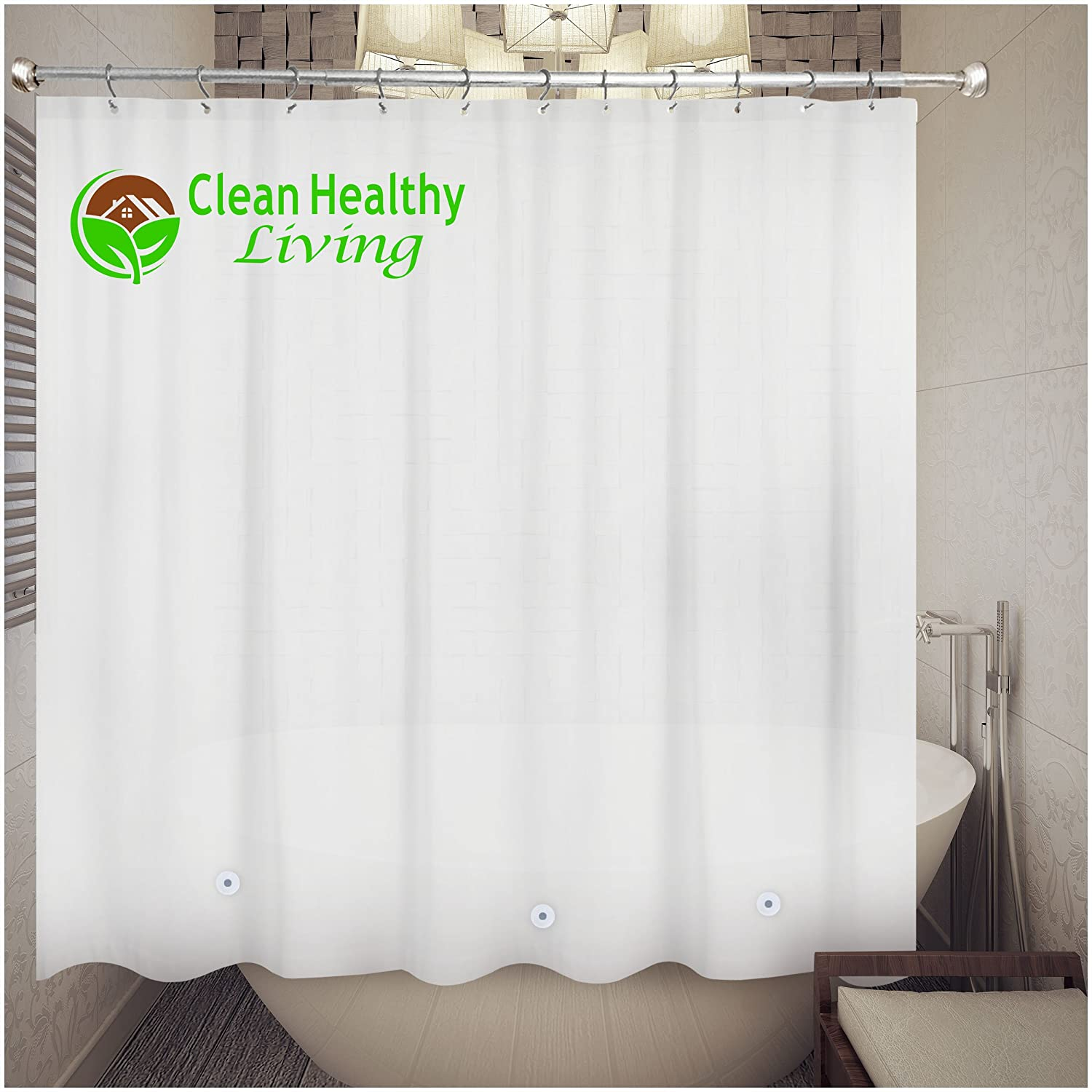 Amazon Clean Healthy Living Heavy Duty Extra Long PEVA Shower Liner Curtain Odorless Mildew Resistant With Suction Cups Eco Friendly 70 X 78 In