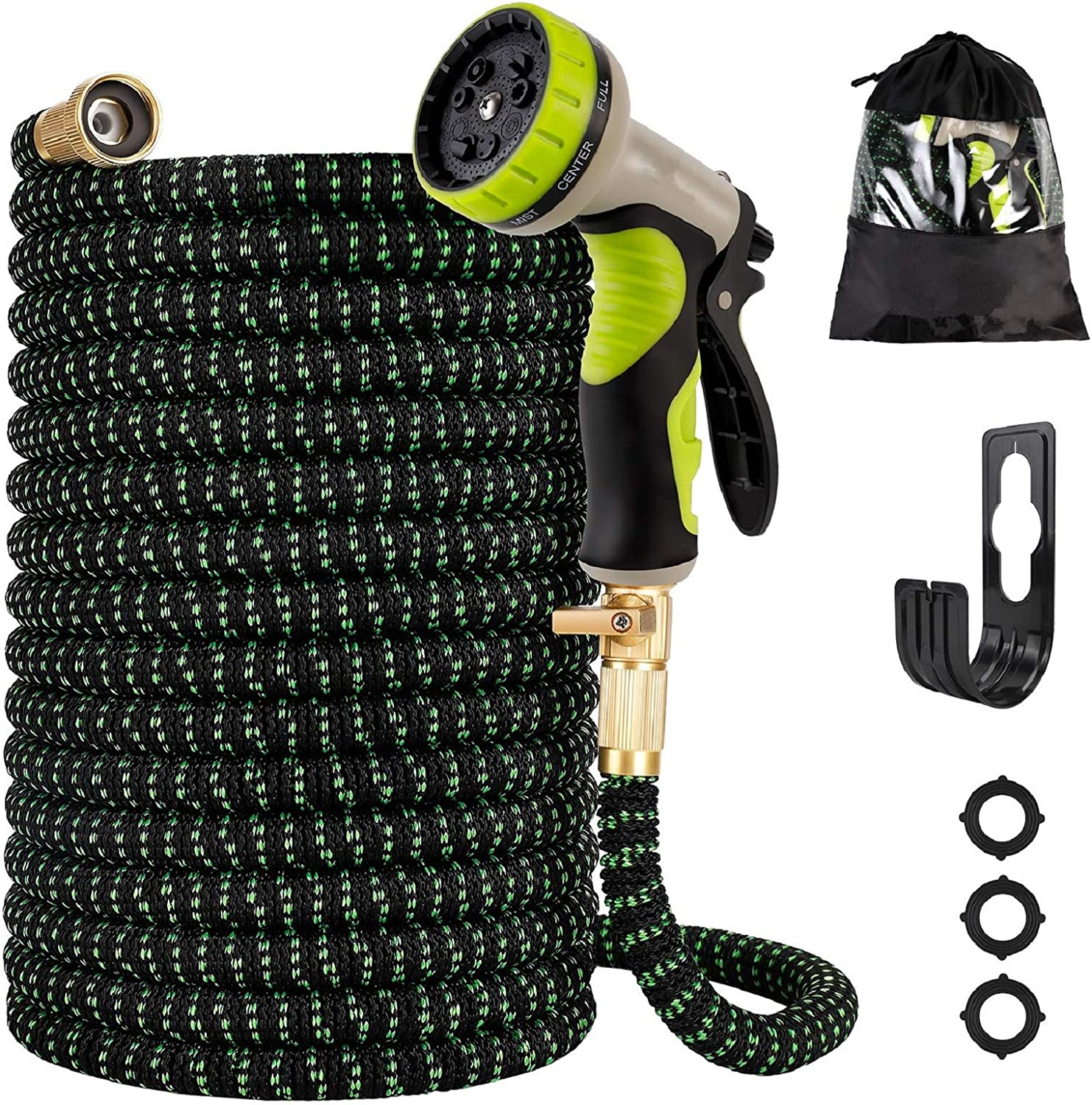 Gpeng Expandable Garden Hose, Water Collapsible Hose with 9 Function Spray Nozzle, Durable 3-Layers Latex Core with 3/4