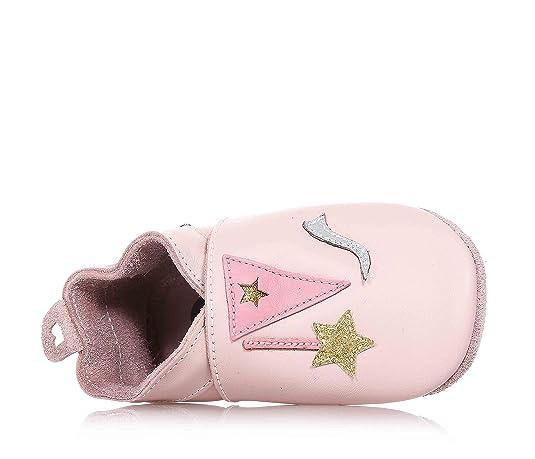 BOBUX - Pink Baby-Schühchen, aus atmungsaktiven Naturleder, mit Gummizug am Knöchel, Baby Mädchen-l