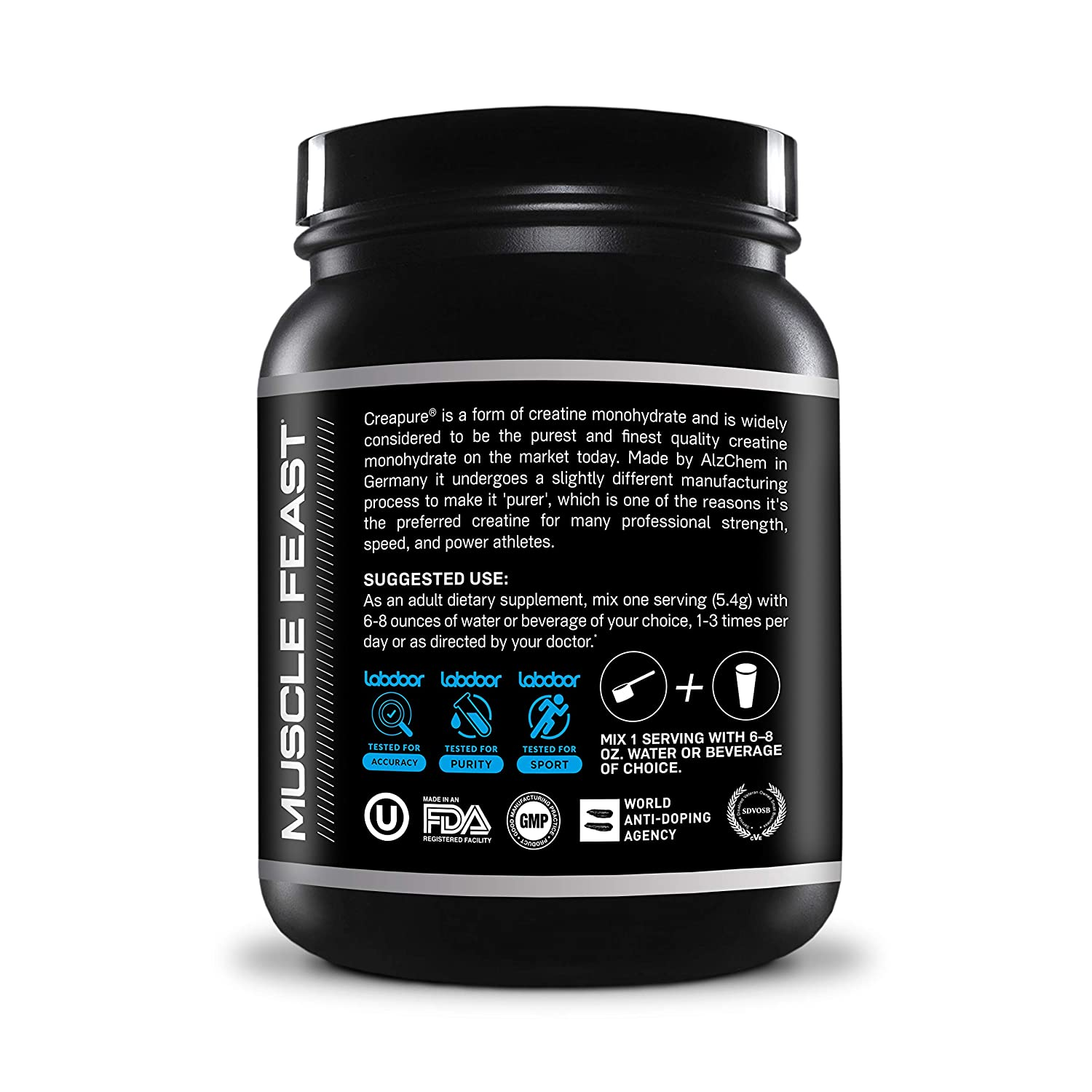 Creapure Creatine Monohydrate Powder – by Muscle Feast Premium Pre-Workout or Post-Workout Easy to Mix and Gluten-Free 2lb, Unflavored