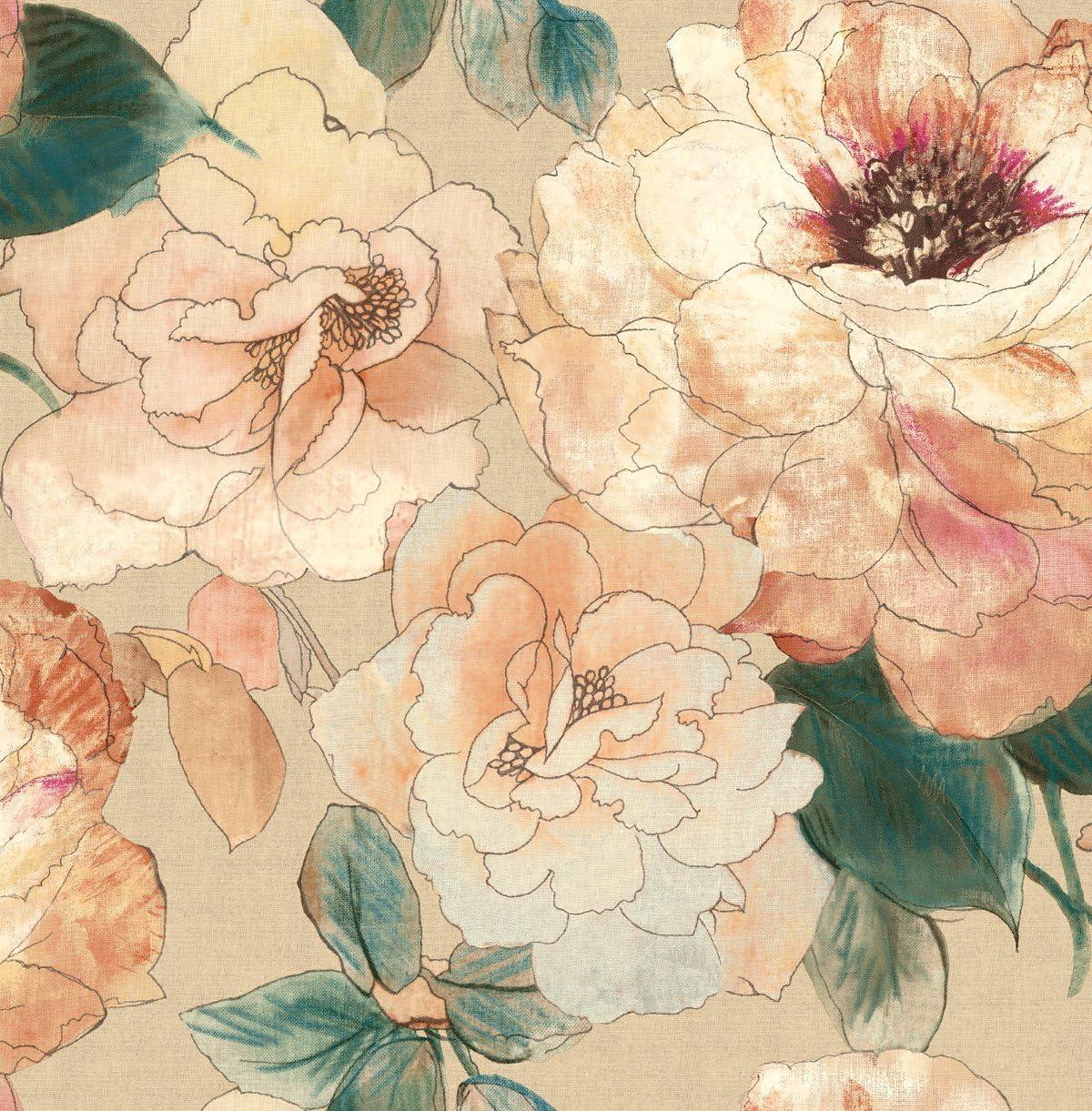Rainforest Pink Floral Wallpaper Blue Shimmer Gold Peach Cream