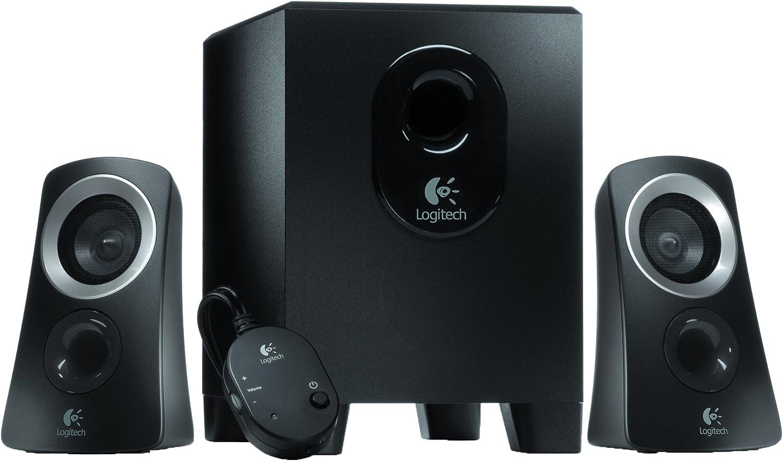 Logitech Z313 Sistema de Altavoces 2.1 con Subwoofer, Sonido Pleno, 50W de Pico, Graves Potentes, Entrada Audio 3.5 mm, Mando, Enchufe UK, PC/PS4/Xbox/TV/Smartphone/Tablet, Blanco