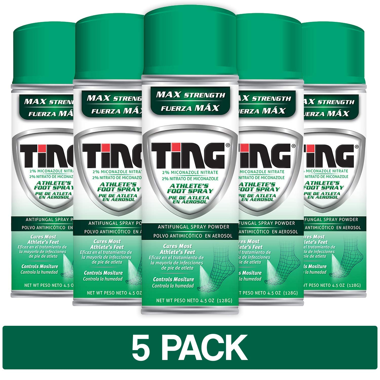 Ting Antifungal Spray Powder for Athlete's Foot, Jock Itch, Ringworm | Max Strength | 4.5-Ounces | 5-Pack by Ting