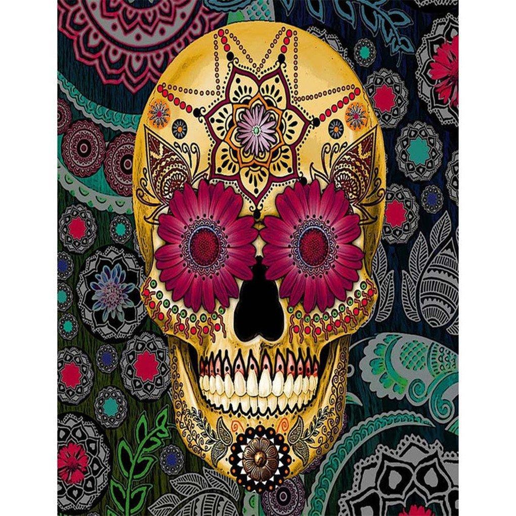 display08 DIY Skull Head 5D Full Diamond Painting Canvas Cross Stitch Craft - E038