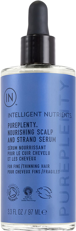 Intelligent Nutrients PurePlenty Nourishing Scalp and Strand Serum - DHT Blocker for Women & Men, Hair Serum with Plant Stem Cells That Promotes Fuller & Stronger Hair (3.3 oz)