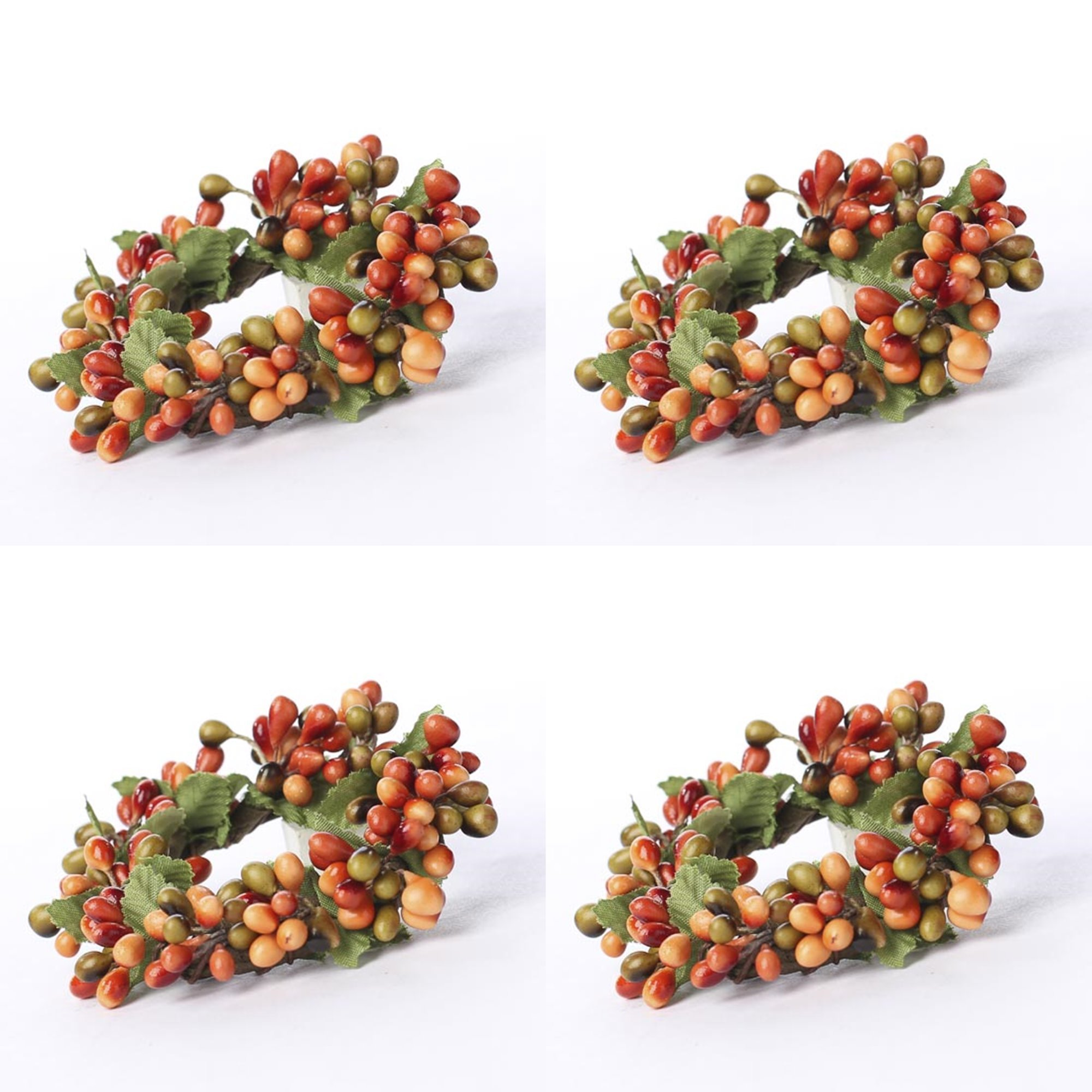 Factory Direct Craft Group of 4 Plump Autumn Pip Berry Miniature Candle or Napkin Rings