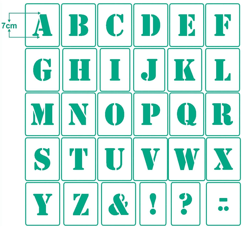 30 einzelne Schablonen Buchstabenschablone Nr.05 4 Sonderzeichen Wandschablone A-Z 1 Satz Buchstaben 10cm hoch Stencil