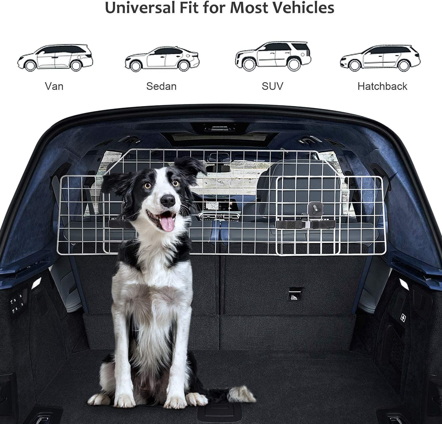 Xuliyme Dog Car Barrier SUV Pet Cargo Dog Divider Heavy Duty Wire Mesh Dog Car Guard Adjustable Pet Metal Barrier for SUVs Cars and Vehicles Universal Fit