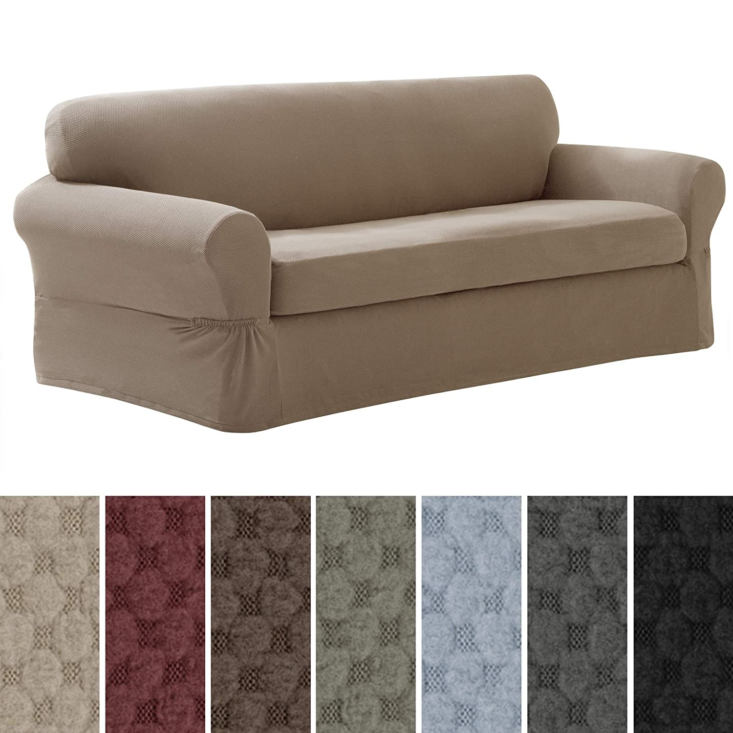 MAYTEX Mills Pixel Ultra Soft Stretch 2 Piece Furniture Cover, Sand Sofa Slipcover