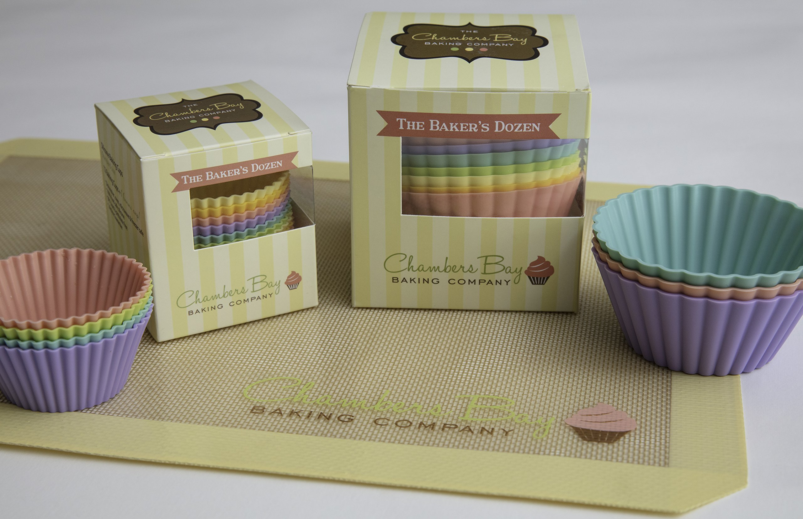Silicone Baking Cups/13 Reusable Nonstick Cupcake Liners/Premium Muffin Molds - Stand Alone Cupcake Holders - No BPA - Gift Set - 6 Designer Colors - Standard Size by Chambers Bay Baking Company (Image #7)