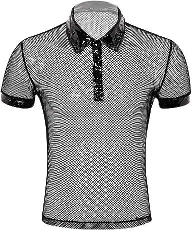ranrann Camiseta de Malla para Hombre Transparente Top Manga ...