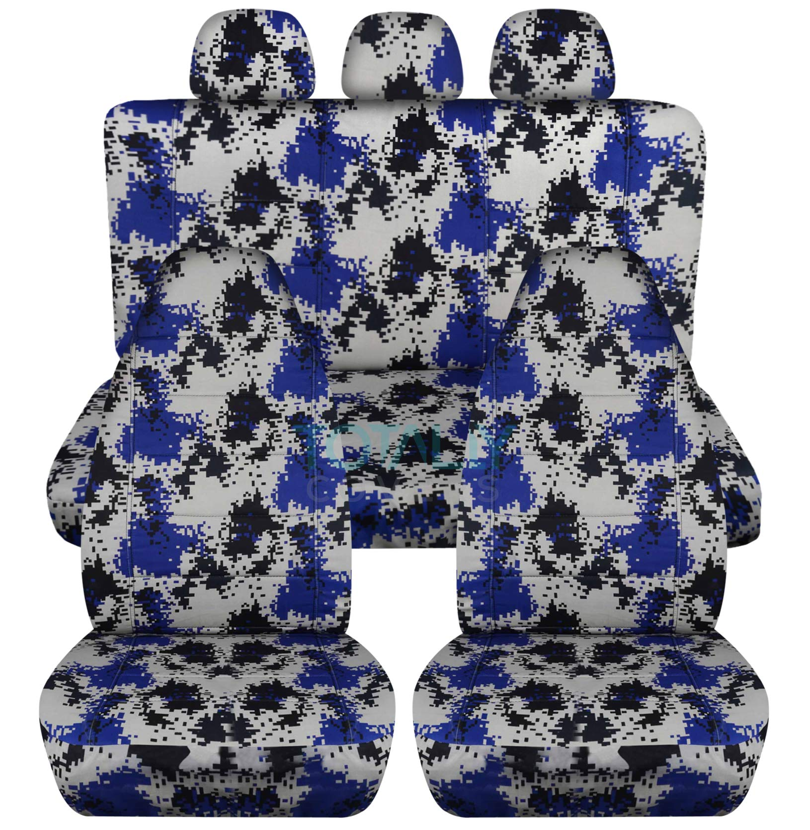 Camouflage Car Seat Covers w 3 Rear Headrest Covers: White & Blue Digital Camo - Semi-Custom Fit - Full Set - Will Make Fit Any Car/Truck/Van/SUV (22 Prints)
