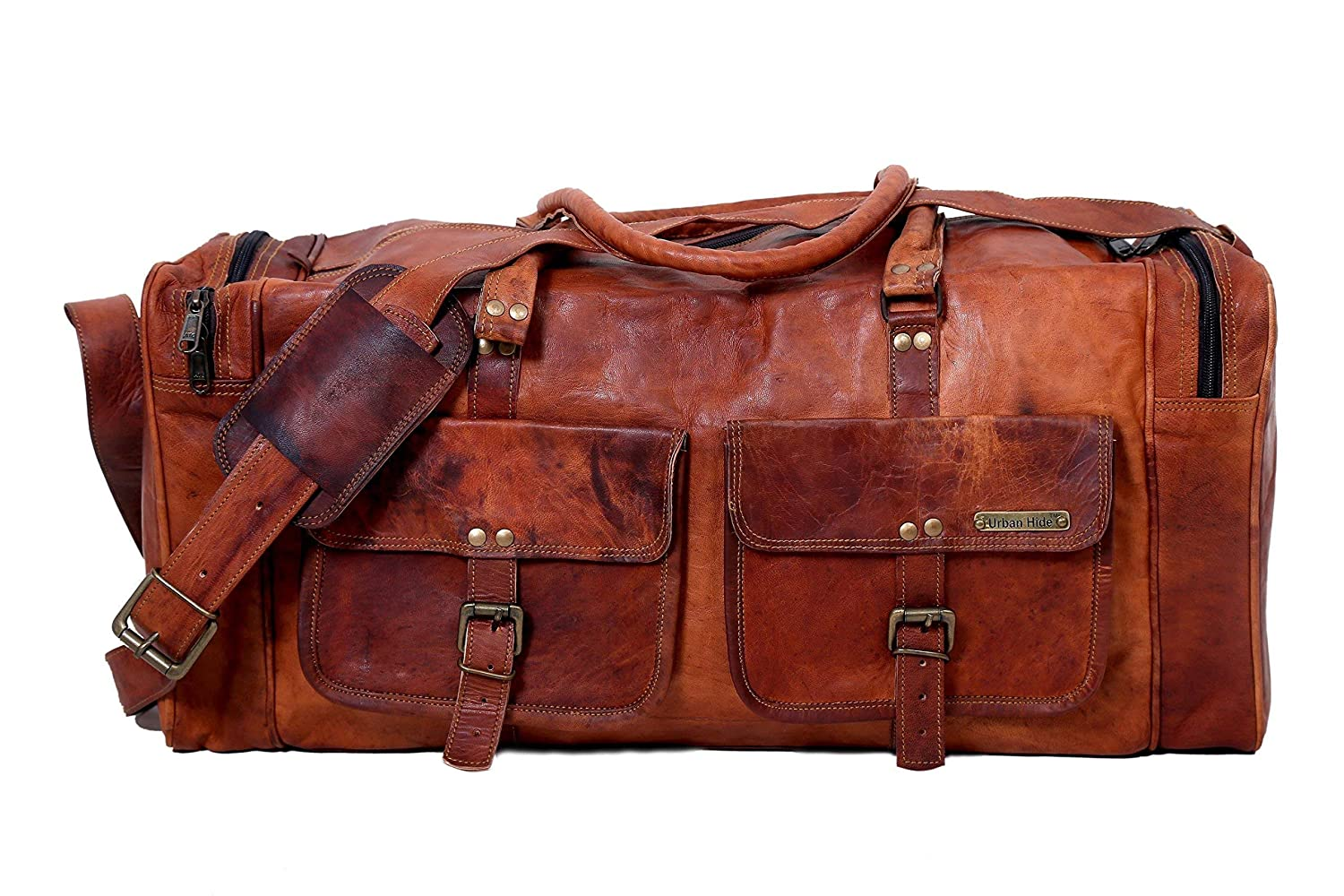 24 Inches Handmade Genuine Vintage Leather Large Travelling Duffel Weekend Bag