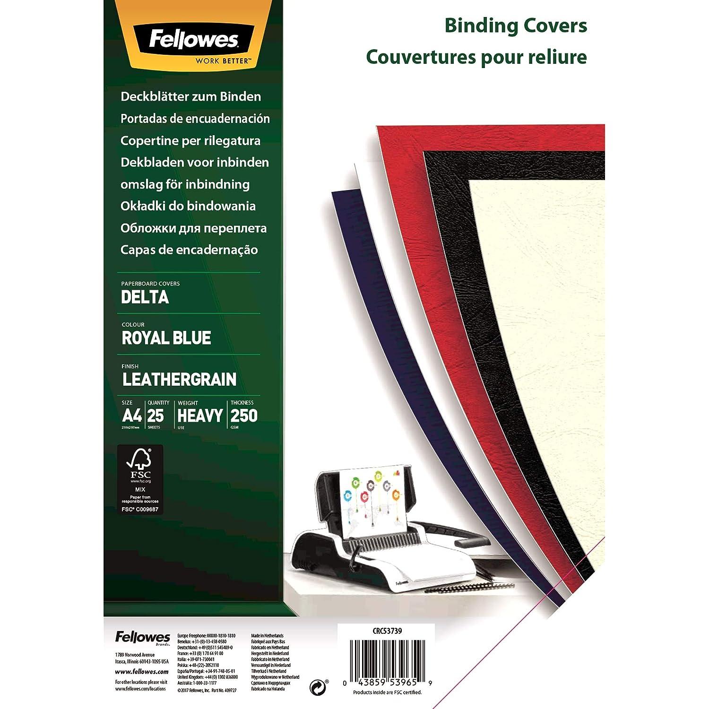 Fellowes 5373902 Copertine per Rilegatura Delta FSC Confezione da 25 Pezzi Formato A4 Formato A4 180Micron,Confezione da 25 Pezzi Royal Blu /& 5380001 Copertine per Rilegatrice in PVC Trasparente