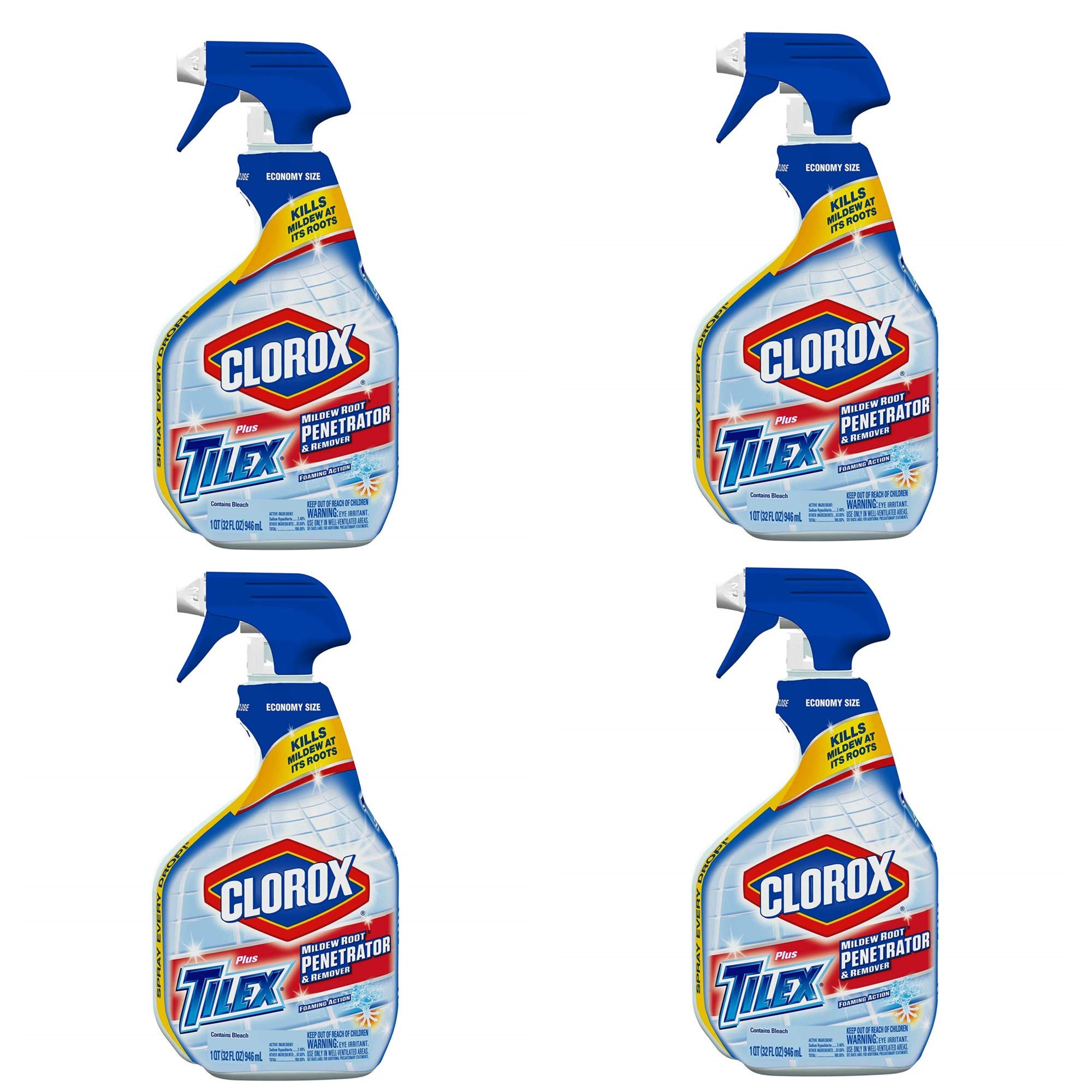 Tilex 00263 Mildew Root Penetrator and Remover Spray Bottle, 32 fl oz Trigger Spray Bottle (4) by Clorox