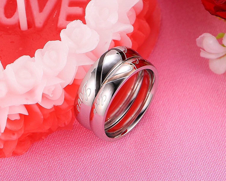 AnazoZ Alliance Homme Femme Real Love Engraved Acier Inoxydable Puzzle Bague de Mariage Deux Amour C/œur