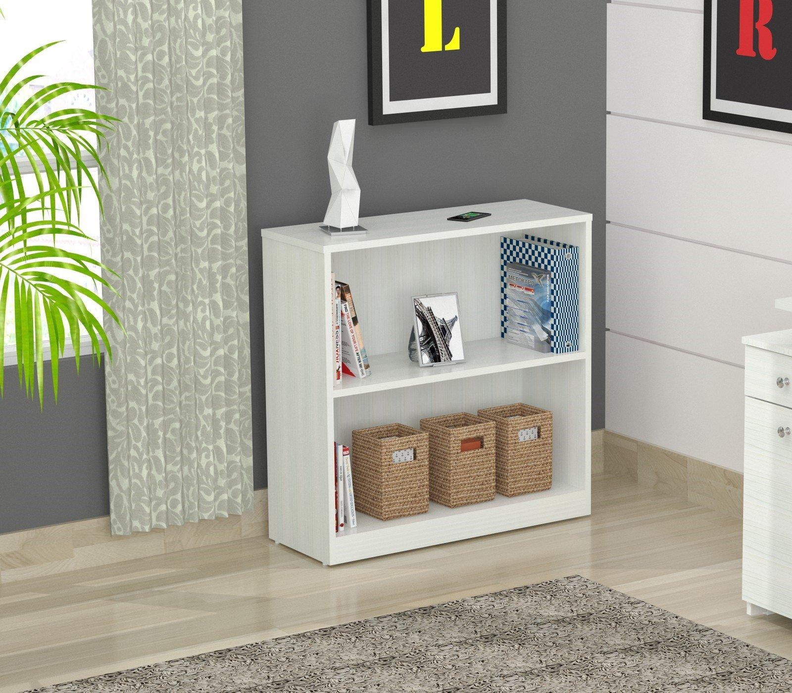 Inval Laricina White 2-shelf Desk Bookcase with Double-Faced Durable Melamine