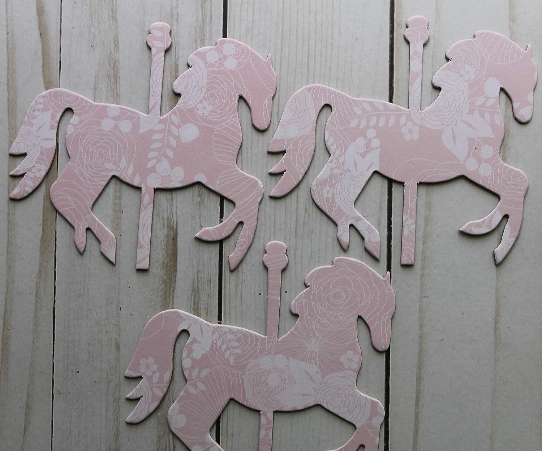 17 Carousel HORSES pastel PINK chipboard die cuts 4 x 3 3//8