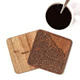 Buenos Aires Map Coaster, Set of 4, Sapele Wooden