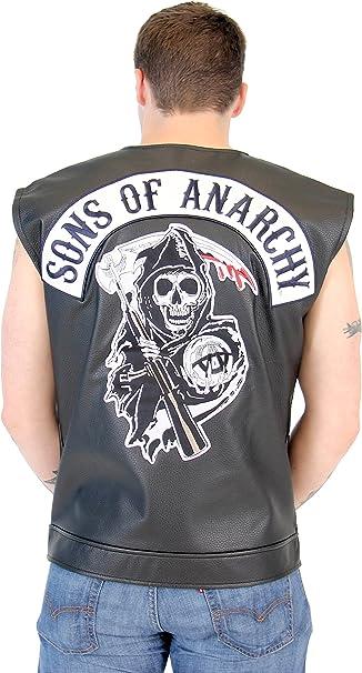 Soa Sons Of Anarchy Schwarz Leather Highway Biker Vest Amazon De Bekleidung