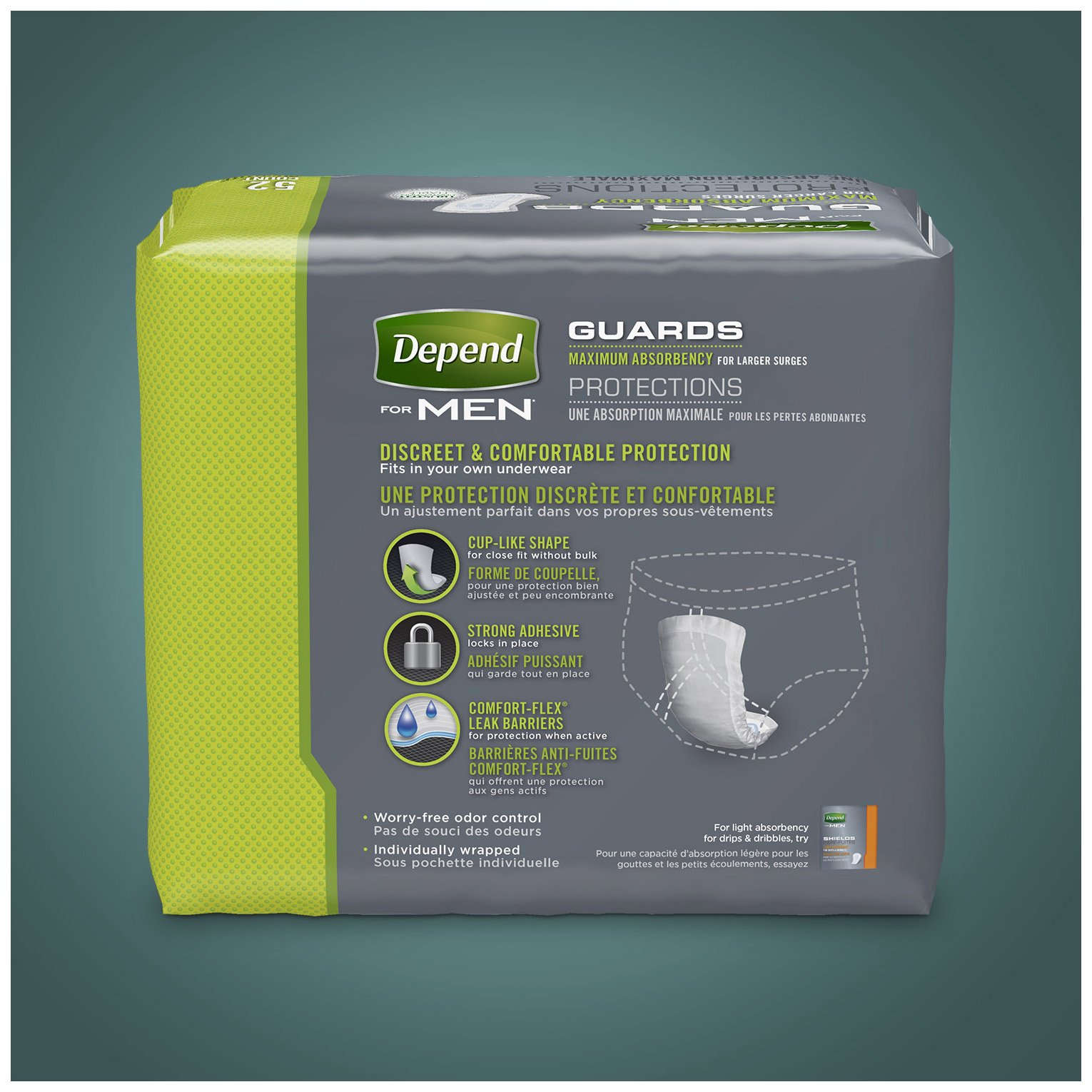 Depend Guards for Men, Maximum Absorbency Incontinence Protection, 52-Count , Pack of 4