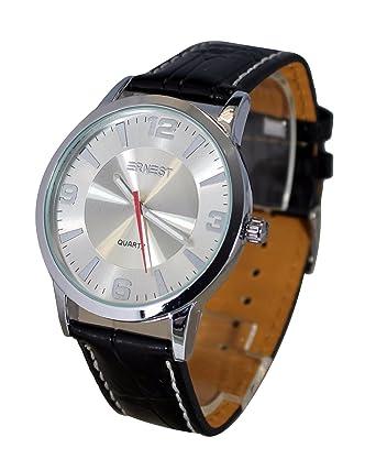 a3570eabc5 Montre homme Ernest à quartz bracelet simili cuir noir: Amazon.fr ...