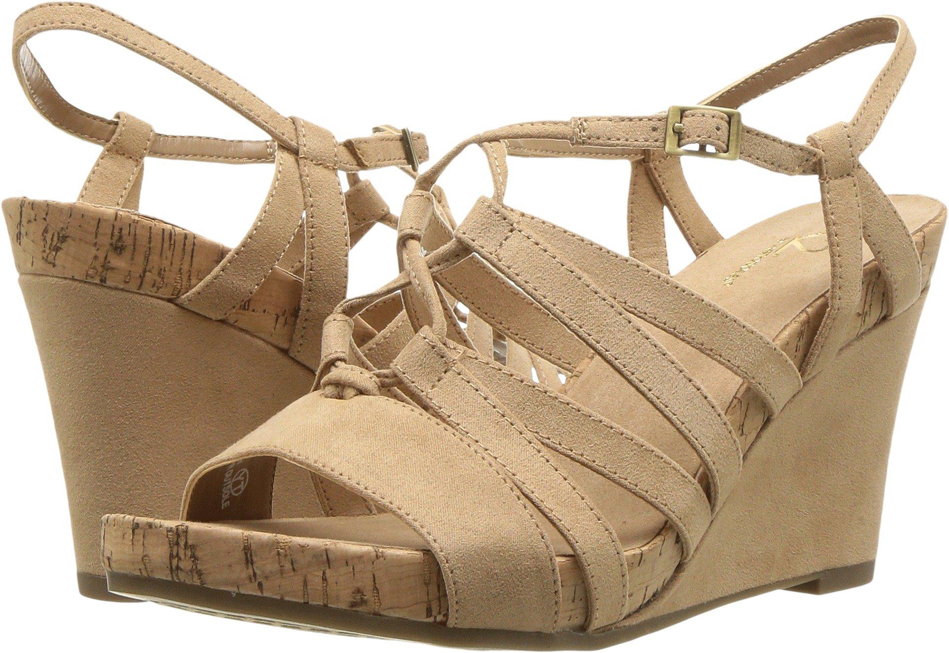 Aerosoles A2 Women's Poppy Plush Wedge Sandal, Light Tan, 9 M US