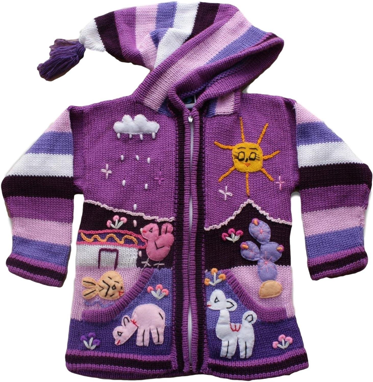Kids Children/'s Alpaca Wool Cardigan Jacket Coat Pixie Hood Appliqué Winter Warm