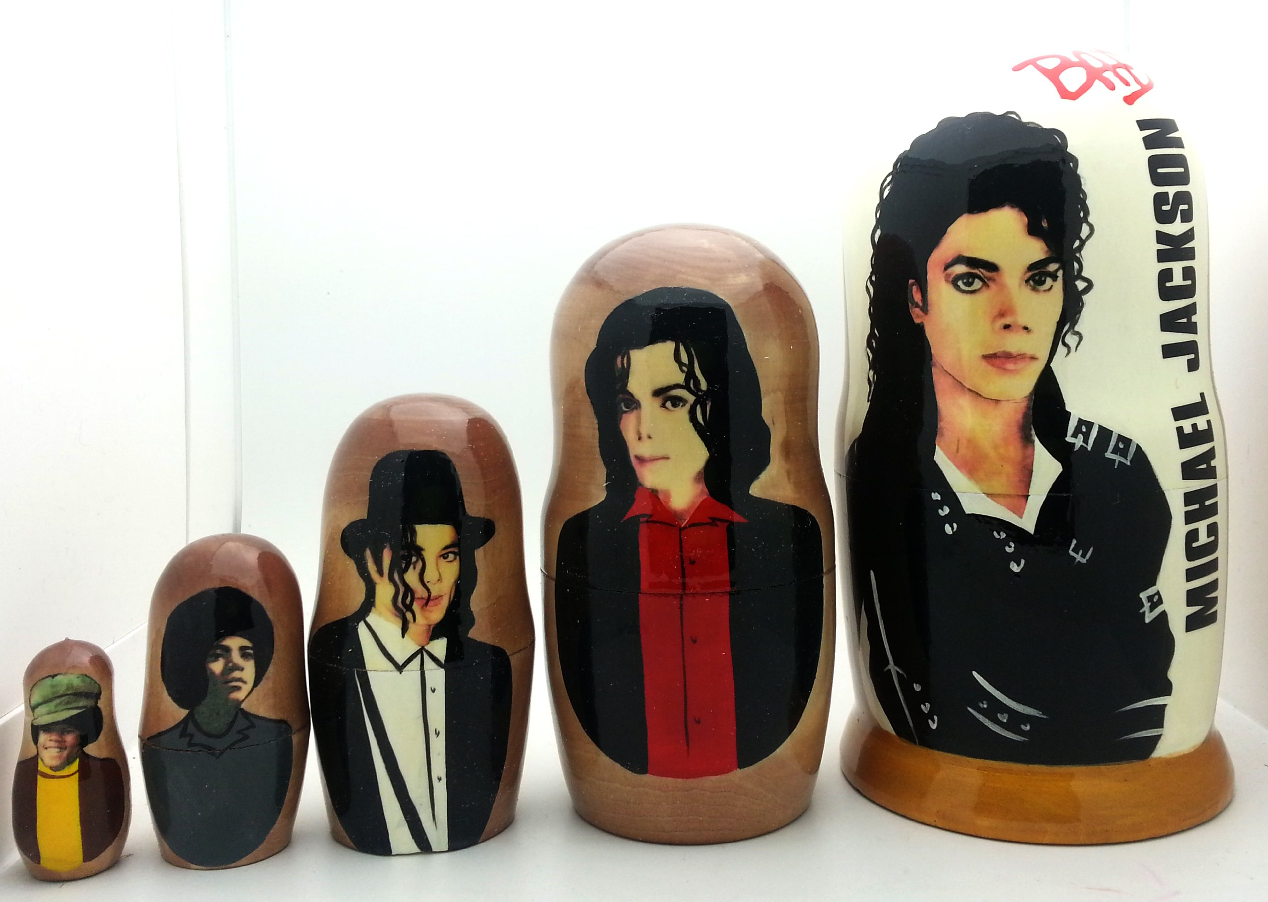 Michael Jackson BAD Russian Nesting dolls 5 piece DOLL Set 7'' by BuyRussianGifts