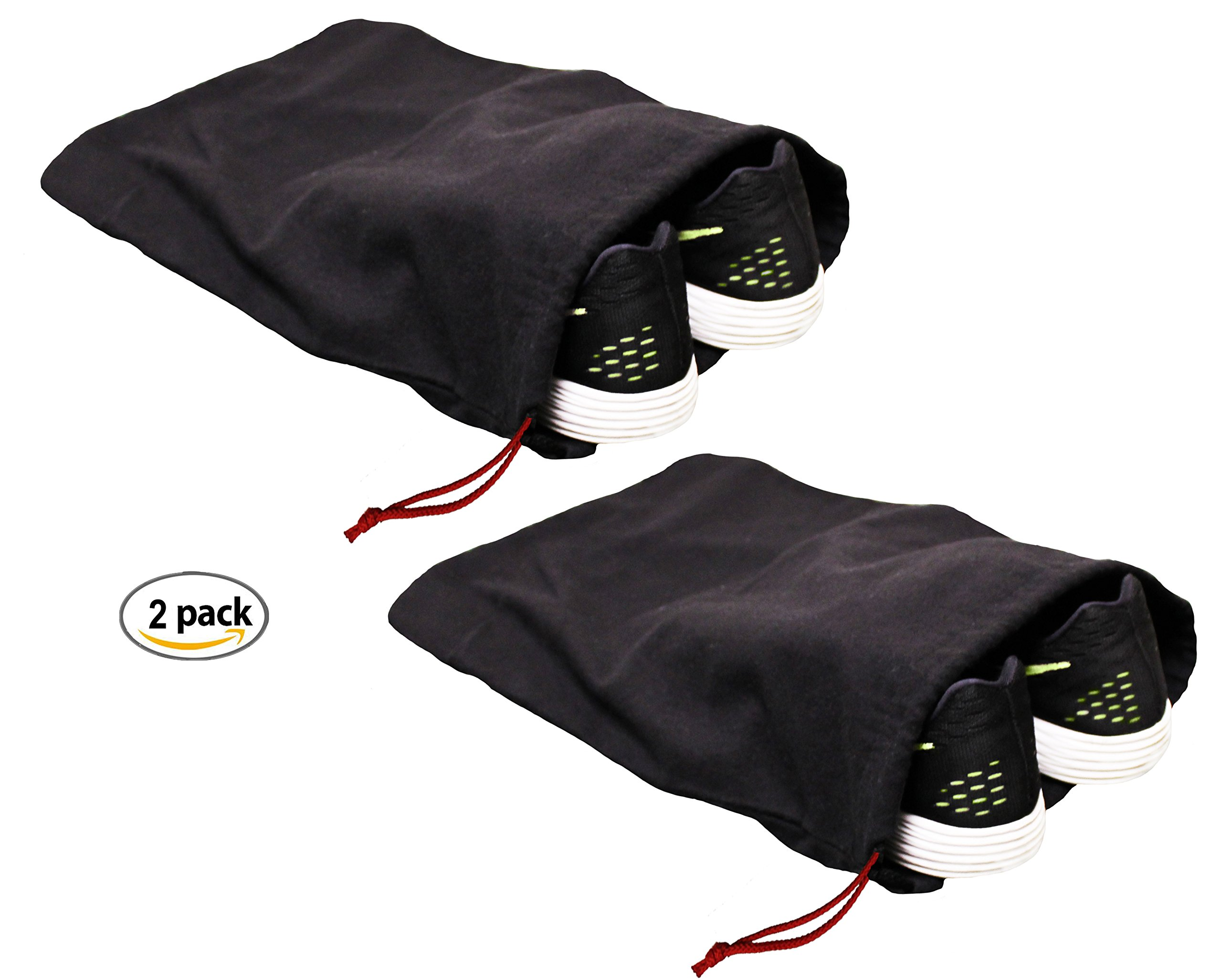 Earthwise 100% Cotton Shoe Storage Bags For Men/Women with Drawstring in Black. MADE IN THE USA. Great for Travel. Each Black bag holds one pair of shoes. 17'' X 12'' MACHINE WASHABLE (2 Pack)