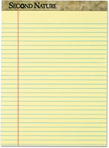 TOPS 74890 Second Nature Recycled Pads, 8 1/2 x 11 3/4, Canary, 50 Sheets (Pack of 12)