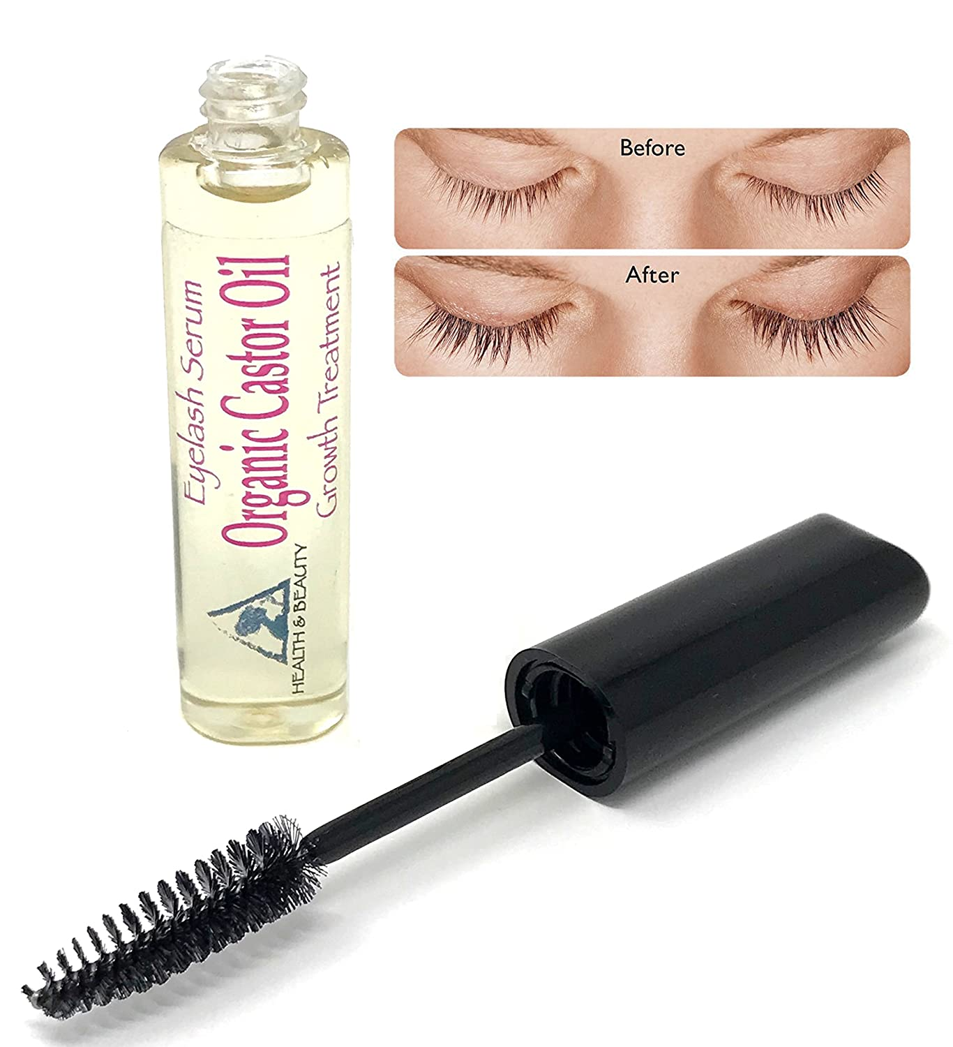 Castor Oil Stimulate Eyelash Growth Serum, Grows Longer, Thicker Eyelashes & Beautiful Eyebrows Cold Pressed Organic 100% Pure Hexane Free Brow Treatment in Mascara Tube H&B Oils Center Co.