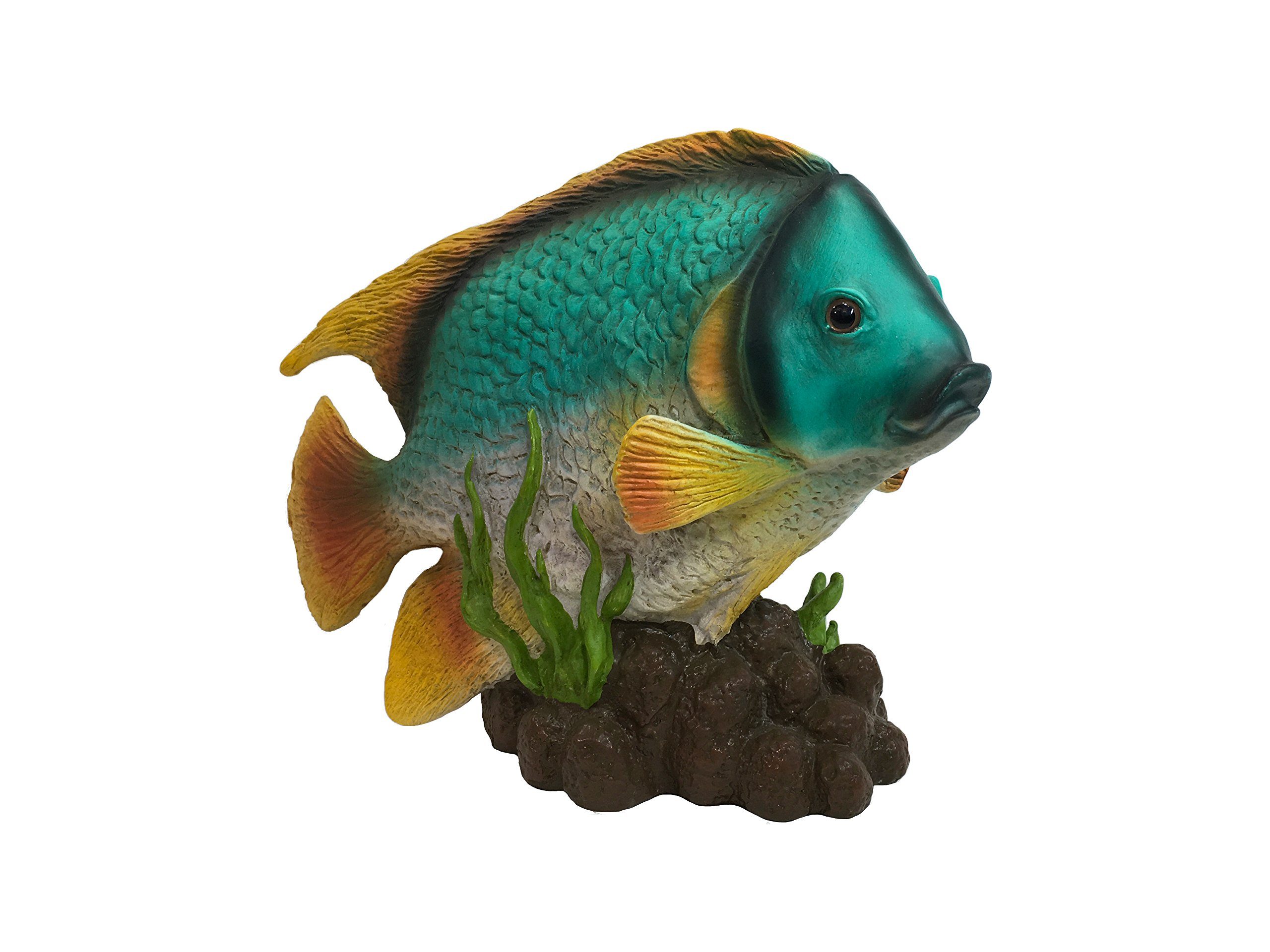 Universal Tropical Turquoise Angel Fish Playing in The Seaweed Statue (Handcrafted Home and Garden Statue), 6.8-Inch