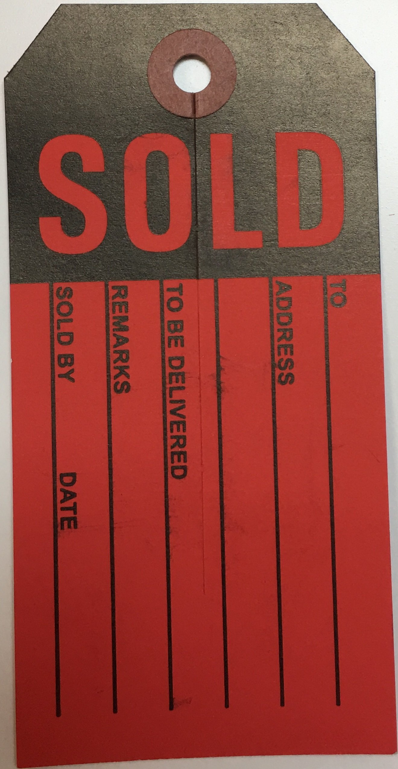 RLD200 Sold Tags Reinforced Hole Red and Black 2 3/8 x 4 3/4 (100 pack)