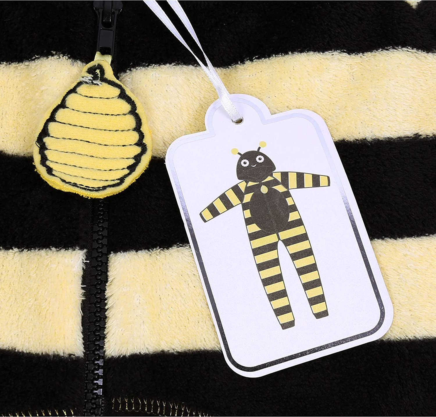 All in One Piece Pyjama Love to Lounge Black//Yellow Hooded Onesie for Ladies Bee Design Striped