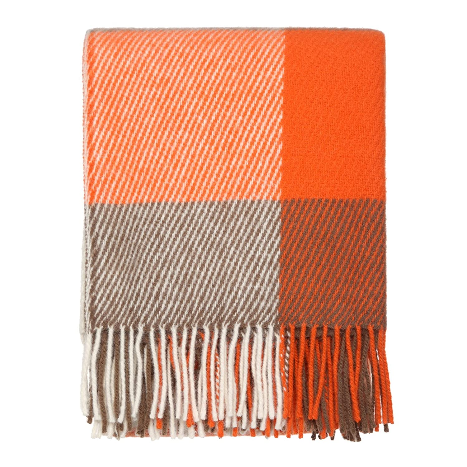 orange check throw   pure new wool amazoncouk kitchen  home -