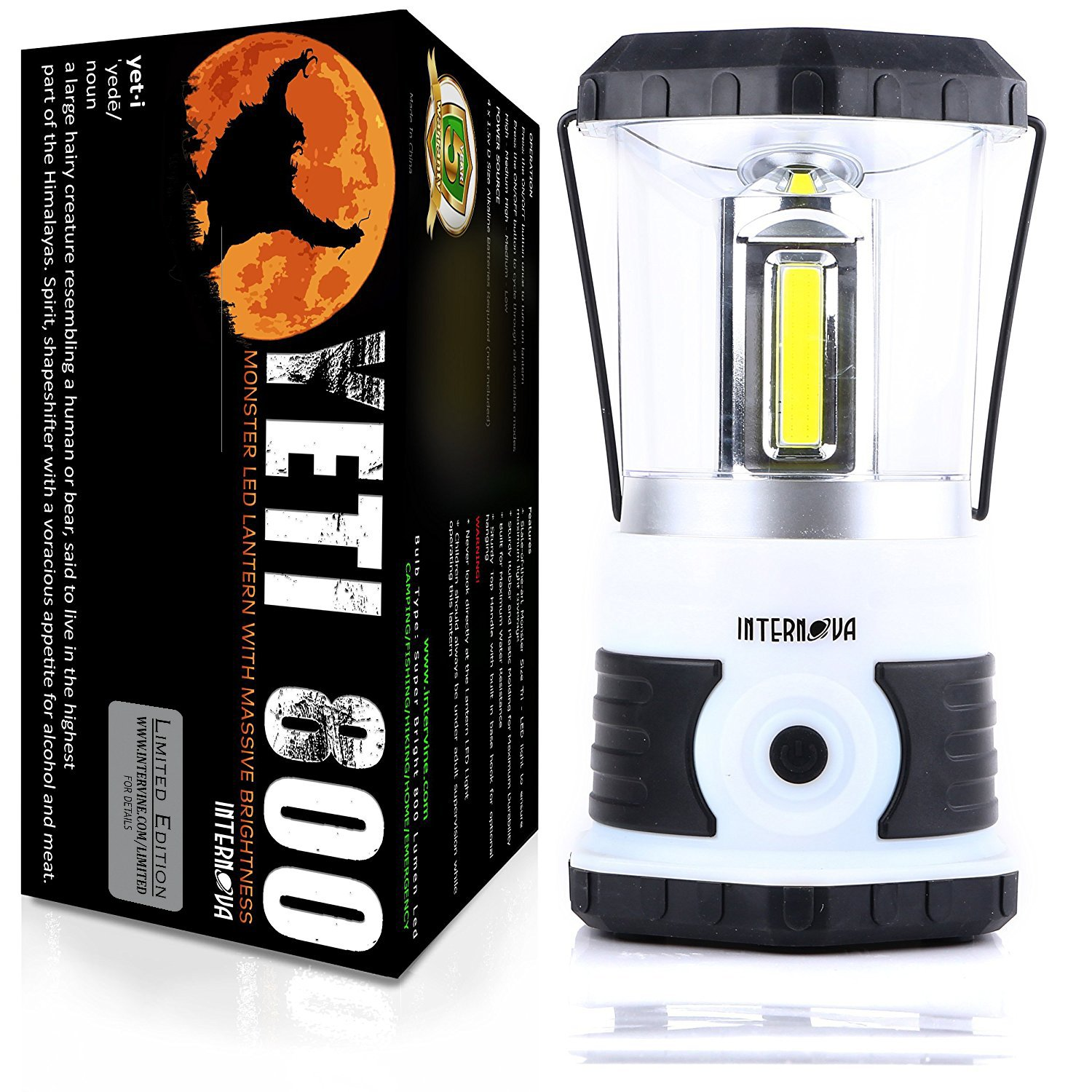 Internova Yeti 800 Monster LED Camping Lantern - Massive Brightness with Tri-Strip Lighting LED Lantern - Emergency - Backpacking - Hiking - Auto - Home - College - Hurricane Supplies