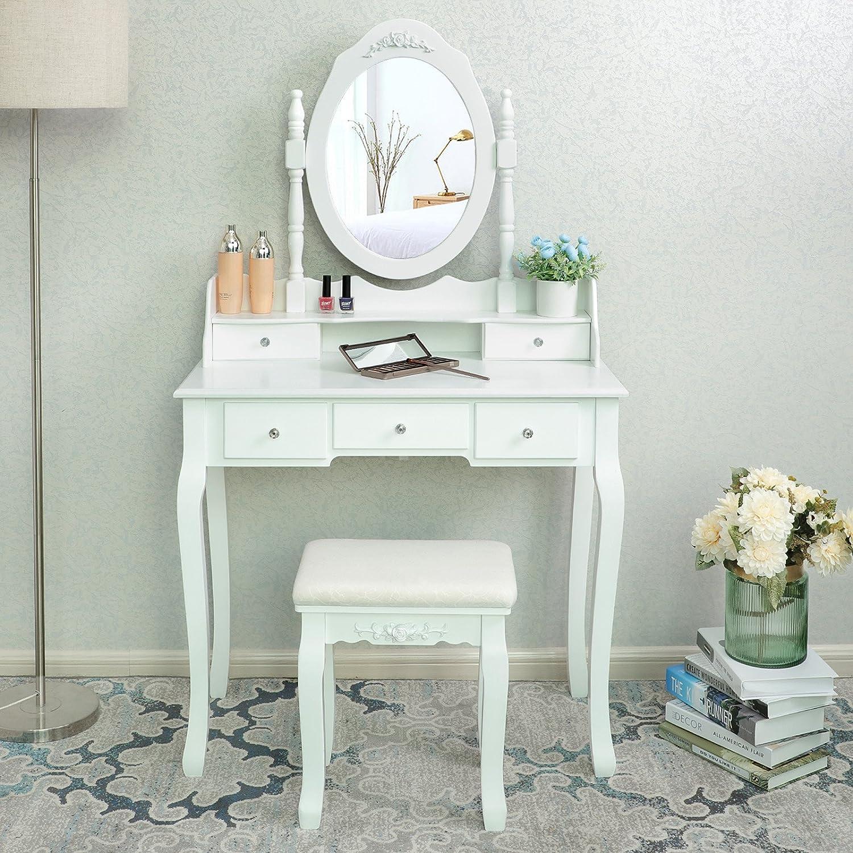 Coiffeuse table blanche de maquillage avec miroir 5 tiroirs s parations pour tiroirs et - Coiffeuse table de maquillage ...