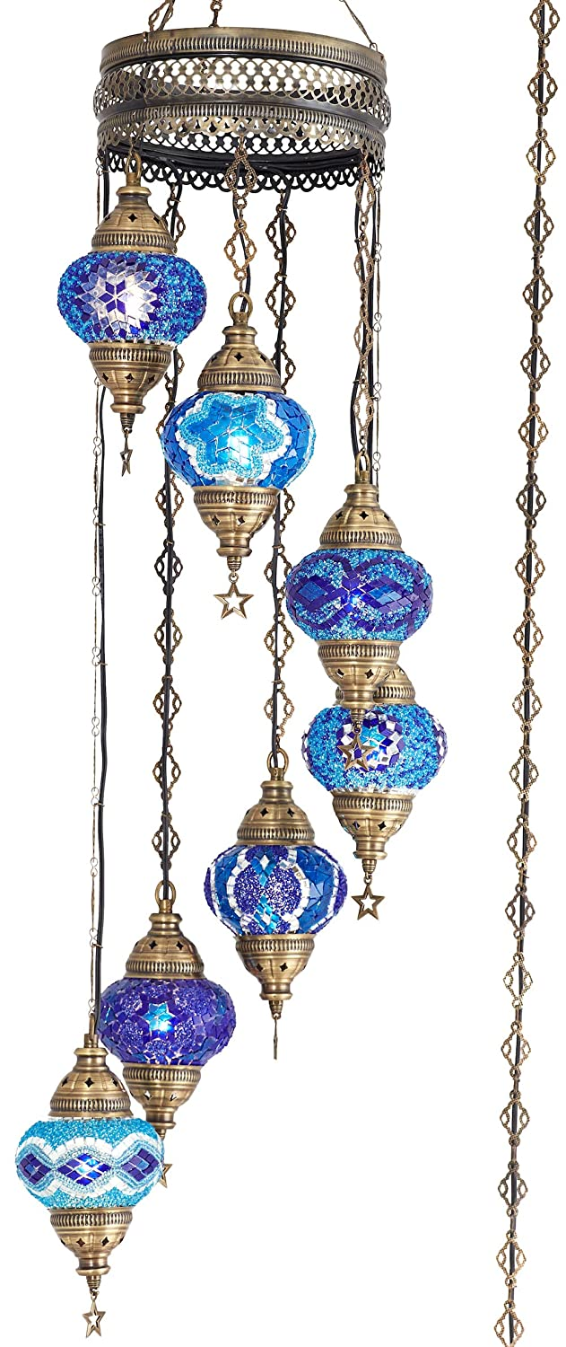 "(10 Colors) 7 Globes Swag Plug in Turkish Moroccan Mosaic Bohemian Tiffany Ceiling Hanging Pendant Light Lamp Chandelier Lighting with 15feet Cord Chain US Plug, 50"" Height (Blue)"